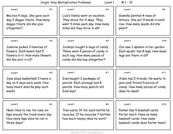 Multiplication Word Problems & Division Word Problems