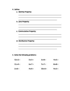 Multiplication and Division Study Guide