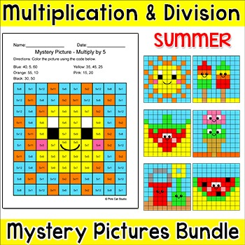 Summer Activities Multiplication and Division Hidden Pictures - End of Year