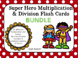 Multiplication and Division Super Hero Flash Card and Certificates Bundle