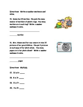 Multiplication and Division TEST