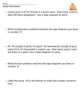 Multiplication and Division Tape Diagram Homework/Extra Practice