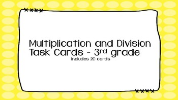 Multiplication and Division Task Cards