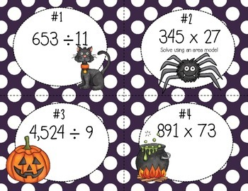 Multiplication and Division Task Cards (Area Models and the Standard Algorithm)