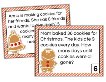 Multiplication Task Cards Christmas/Gingerbread Theme
