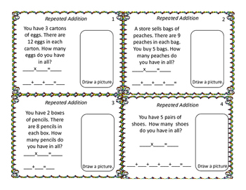 Multiplication and Division Task Cards-Morning Work- No Prep