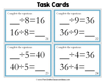 3rd Grade Go Math 6.7 Relate Multiplication and Division Task Cards