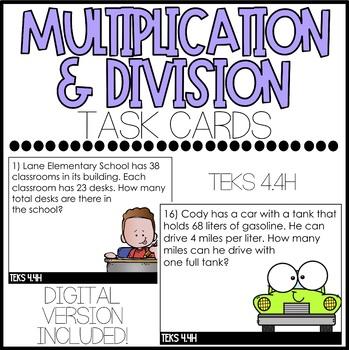 Multiplication and Division Task Cards (TEKS 4.4H) - Paper and Digital Version!