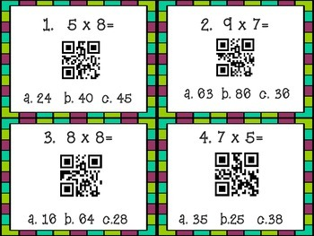 Multiplication and Division Task Cards with QR Codes