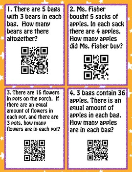 Multiplication and Division Word Problems with QR codes