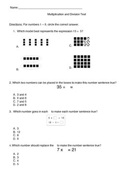 Multiplication and Division Test- Editable