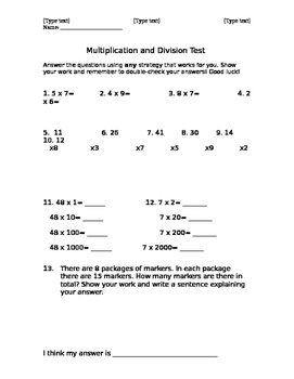Multiplication and Division Test (Numeracy)