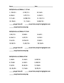 Multiplication and Division Tests 0-12