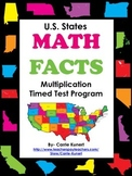 Multiplication and Division Timed Test U.S. Passport Bundle (Common Core)