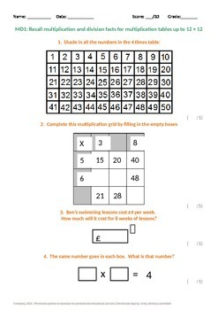 Multiplication and Division:  Times Tables up to 12x12