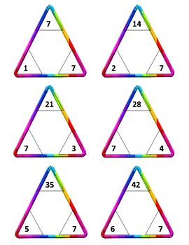 Multiplication and Division Triangle Flash Card Fact Fluency Sets 7 - 10