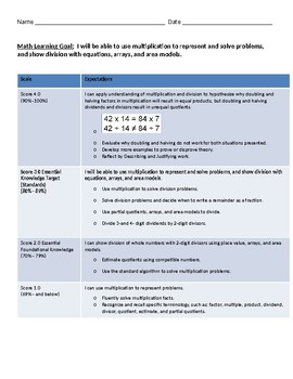 Multiplication and Division Unit Plan with Goal and Scale