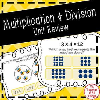 Multiplication and Division Unit Review Boom Cards SOL 3.4
