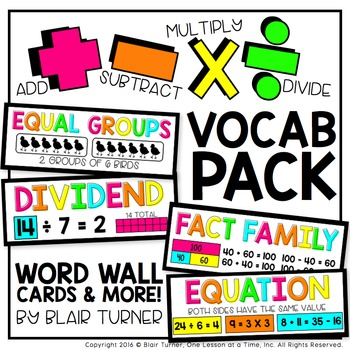 Addition, Subtraction, Multiplication, and Division VOCABULARY PACK