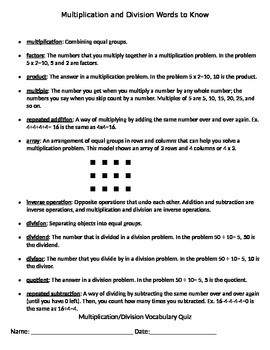 Multiplication and Division Vocabulary