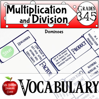 Multiplication and Division Vocabulary Dominoes