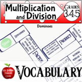 Multiplication and Division Vocabulary Dominoes Math Center Activity