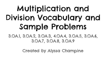Multiplication and Division Vocabulary and Sample Problems