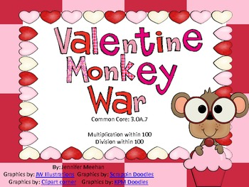 Multiplication and Division War-Valentines Theme-Common Core Aligned