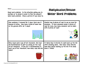 Multiplication and Division Winter Word Problems