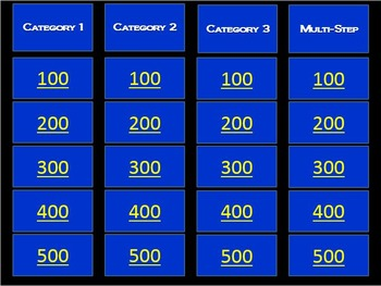 Multiplication and Division Word Problem Jeopardy