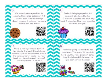 Multiplication and Division Word Problem QR CODE Task Cards