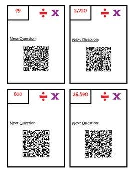 Multiplication and Division Word Problem QR Scavenger Hunt 4.NBT.5  4.NBT.6