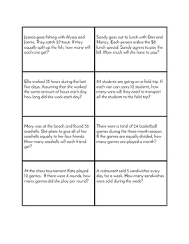 Multiplication and Division Word Problem Set