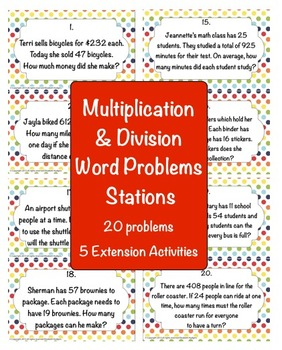 Multiplication and Division Word Problem Stations