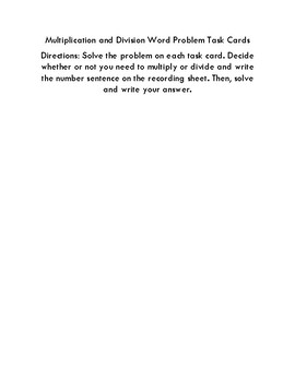 Multiplication and Division Word Problem Task Card Activity