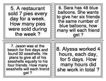 Multiplication and Division Word Problem Task Cards-32 (TEKS 2.6A, 2.6B)