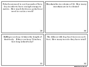 Multiplication and Division Word Problem Task Cards *Animal Theme*