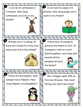 Multiplication and Division Word Problem Task Cards Bundled