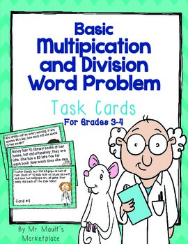 Multiplication and Division Word Problem Task Cards: CC Aligned for 3rd and 4th