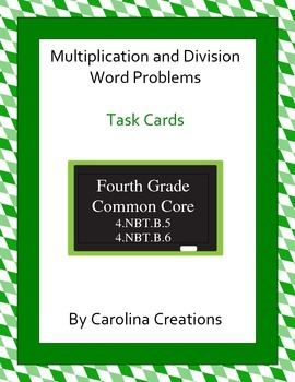 Multiplication and Division Word Problem Task Cards - Fourth Grade Math