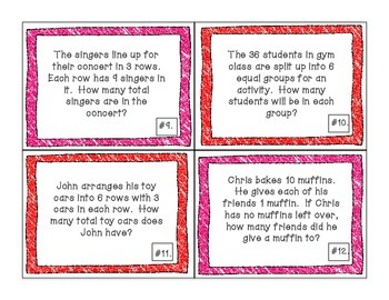 Multiplication and Division Word Problem Task Cards Valentine's Day Themed