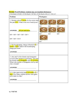 ESL: Multiplication and Division Word Problems