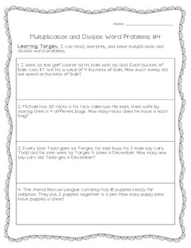 Multiplication and Division Word Problems