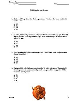 Multiplication and Division Word Problems 2