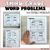 Third Grade Math: Word Problems Bundle Editable