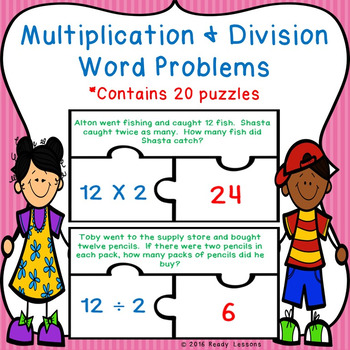 Multiplication and Division Word Problems Game Puzzles 3.OA.3