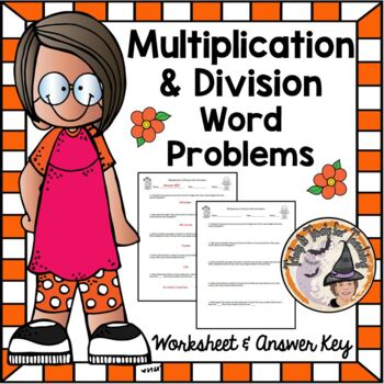 Multiplication and Division Word Problems Practice Worksheet with Answer KEY