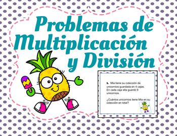 Multiplication and Division Word Problems--TEKS 3.4K--Dual Language--Spanish