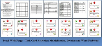 Multiplication and Division Word Problems Task Card REVIEW GAME - {Common Core}
