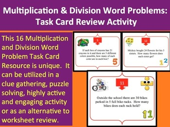 Multiplication and Division Word Problems Task Card REVIEW